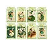 Vintage St Patricks Day  Hang Tags Printable Collage Sheet Download JPG Digital File