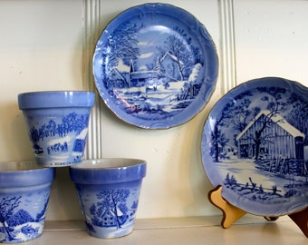 Vintage Herb Garden Pots and Plates Currier and Ives Winter Collection Set Cobalt Blue Garden Pots and Plates