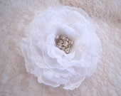 White Chiffon and Organza Wedding Flower Hair Clip, Brooch Bridal Accessories Mother of the Bride, Bridesmaids