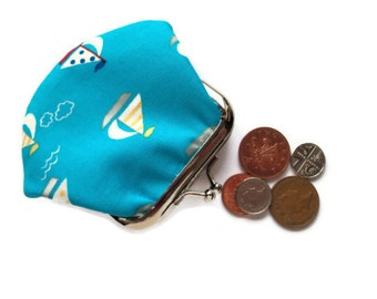 Blue Coin Purse - Blue Change Wallet - Small Change Purse - Pocket Money Pouch - Framed Coin Purse - Fabric Purse