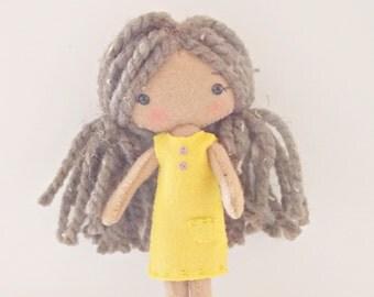 Pocket PIxie - Small Doll - Felt Doll - Gingermelon Doll