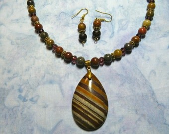18 Inch Fall Colored Jasper and Agate Pendant Necklace with Earrings