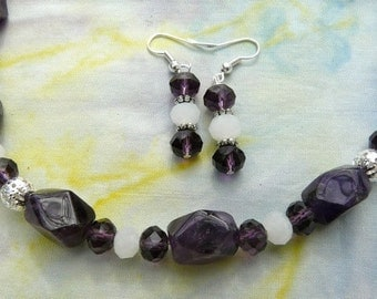 28 Inch Amethyst and Crystal Necklace with Earrings