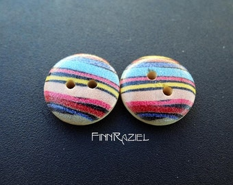 8 Wooden buttons ø 15 mm bright colorful striped childrens clothing