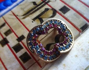 Vintage Gold Tone Pink & Blue Rhinestone Brooch Pin