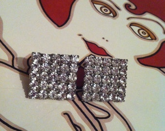 Vintage Silver Tone Rhinestone Square Clip On Earrings