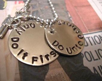 Stamped Metal Necklacle, Hand Stamped Jewelry - N44