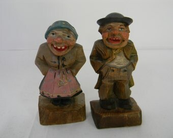 Vintage Anri Hand Carved Wood Figures Old Couple Man Woman Italy Pair