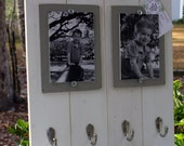 Distressed Picture Frame, Double 4x6 Keyhook Picture Frame, Keyholder Frame, Collage Frame