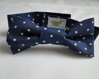Navy Polka Dot Infant/Baby/Toddler Bow Tie or Neck Tie and/or Suspenders- Great Photo Prop, Cute for Weddings