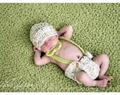 Newborn Newsboy Hat Diaper Cover Suspenders Bow Tie Set Crochet Photo Prop 0-12 Months