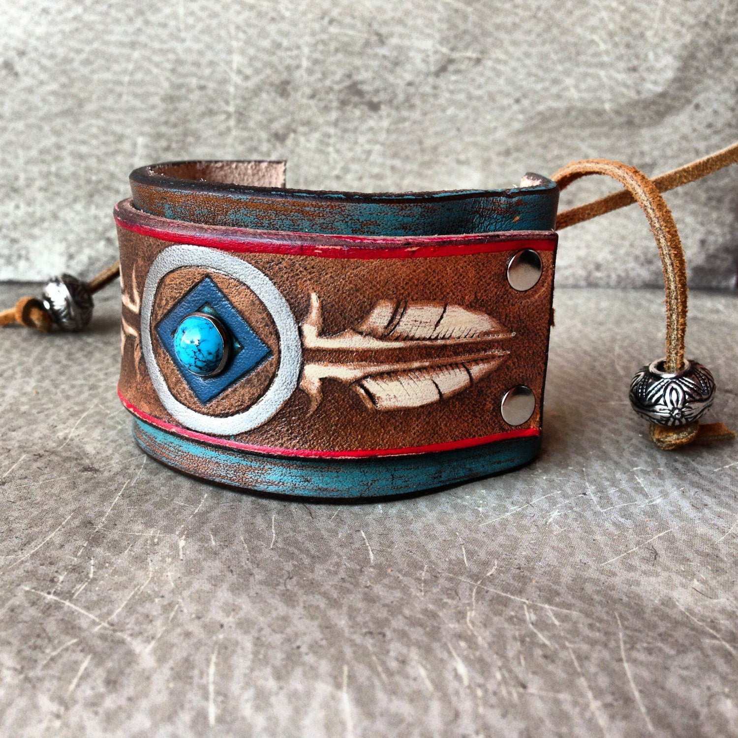 Handmade leather native american stamped feather cuff bracelet for How to make american indian jewelry
