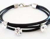 Soldes : before 19 USD ... (leather bracelet gotas de estrella)