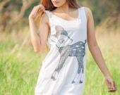 Cartoon Deer Tank Top - Women t-shirt tank top Tunic Unisex Shirt Vest Women Sleeveless Singlet White T-Shirt Size M L..