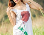 Rose Tank Top - Women t-shirt Tunic Unisex Shirt Vest Women Sleeveless tee  Men tank top Singlet white T-Shirt Size M L
