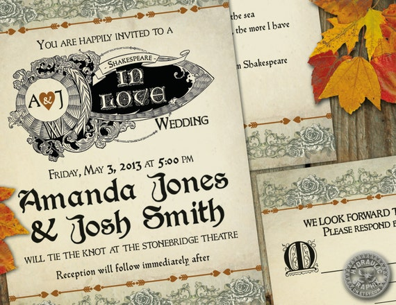 Medieval Wedding Invitation Wording: Shakespeare Printable Wedding Invitation And By