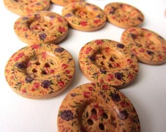 Wooden button romantic flowers 4 holes 25 mm 10 pieces button nr 14