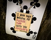 "Shakespeare Quote Rummikub Necklace - ""I am not bound to please thee with my answers."""