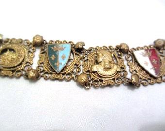Egyptian Revival Bracelet, Enamel, 1920s Art Deco Vintage Jewelry, SUMMER SALE