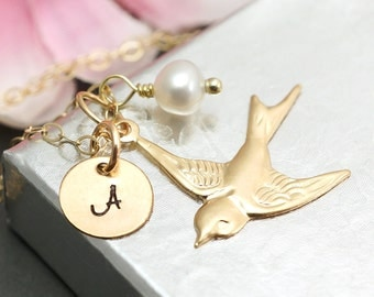 Mama bird necklace, personalized mothers necklace, custom initial, birthstone necklace, gift for mom , gold filled