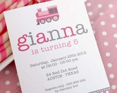 DIY PRINTABLE Invitation Card - Vintage Choo-Choo Pink Train Birthday Party - PS802CA2a1