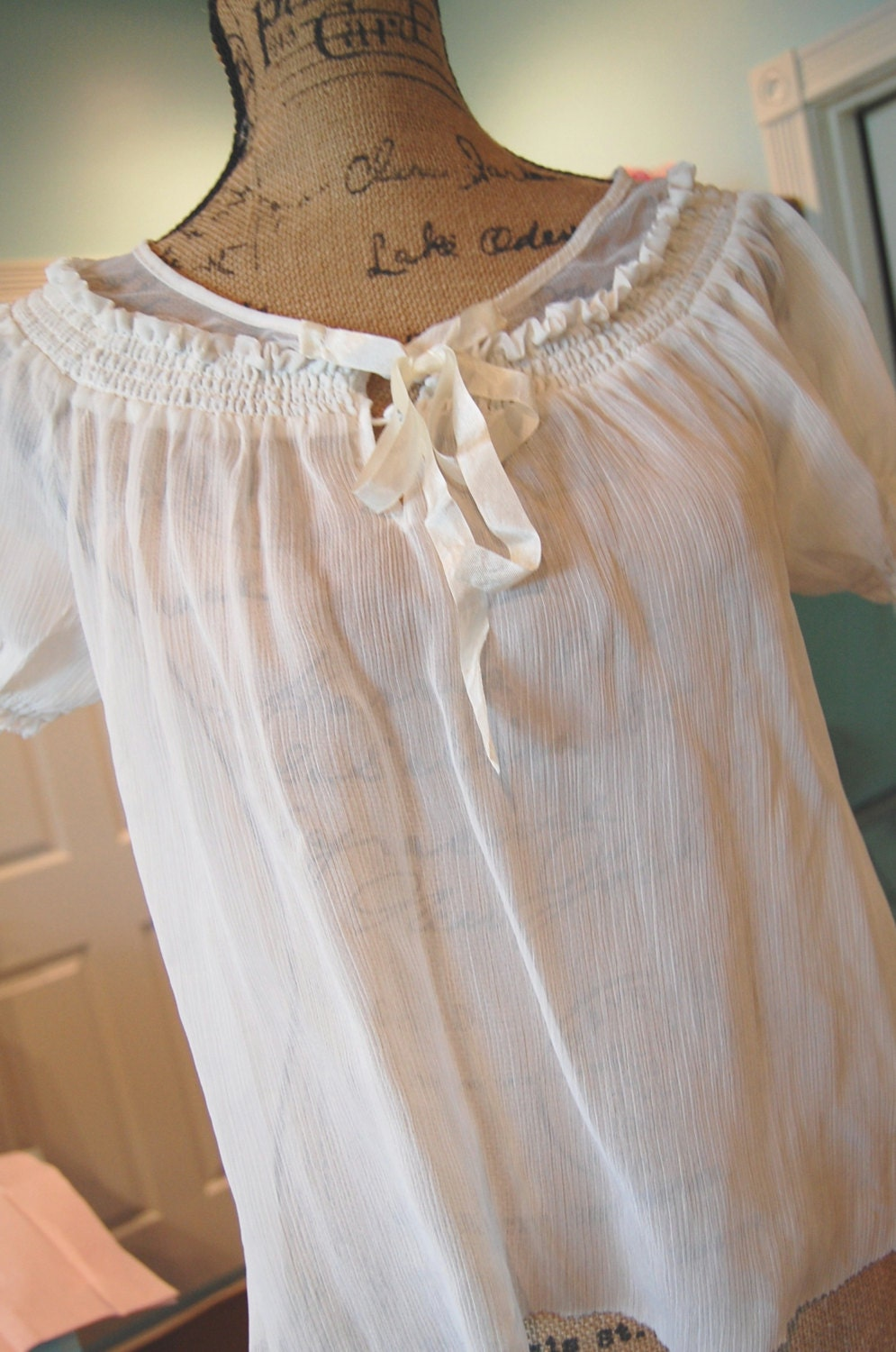 Ivory Peasant Top Womens Shabby Chic Clothing Cropped Sheer