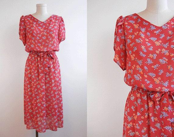 Vintage 1980s Dress / Sheer Red Floral Day Dress