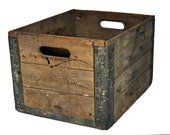 Vintage Sheffield Industrial Wood Crate with Galvanized Metal / Industrial Decor