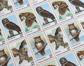 50 pieces - 1978 15 cent American Owls Vintage unused postage stamps - 4 designs - great for wedding invitations