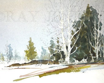 Spring Melt Meadow Scene White Birch Watercolor Painting