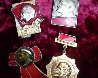4 nice soviet pin badge pinback icon Great Vladimir Lenin - USSR communism leader - 100 % original