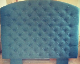 Slightly Arched Diamond Tufted Turquoise Headboard  (Queen with Upholstered Legs)