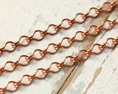 6ft Solid Copper Ladder Chain Round Wire 4mm, Medium Fancy Cable Chain, Strong Ornate Crinkle Copper Chain