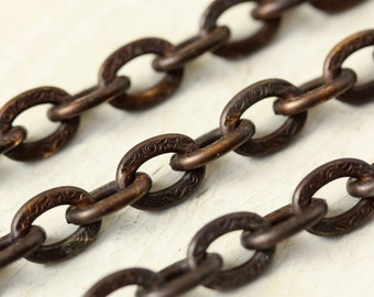 2ft Large Flat Link Textured Brass Cable Chain 7mm x 10mm, Hand Applied Patina Patterned Solid Brass Chain, Antiqued Brass Heavy Oxidized