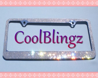 8 Row CRYSTAL Bling Diamond Rhinestone License Plate Frame made w/ Swarovski Elements
