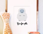 Y is for Yeti woodland animal cameo illustration 8x10 5x7