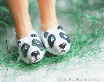 SALE! Cute panda slippers bookmark. Girly legs in the book. Kawai panda sneakers.