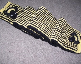 Childrens Hand Knitted Merino -busy bee ,lace wings  soft lightweight in  bright yellow  and Black.