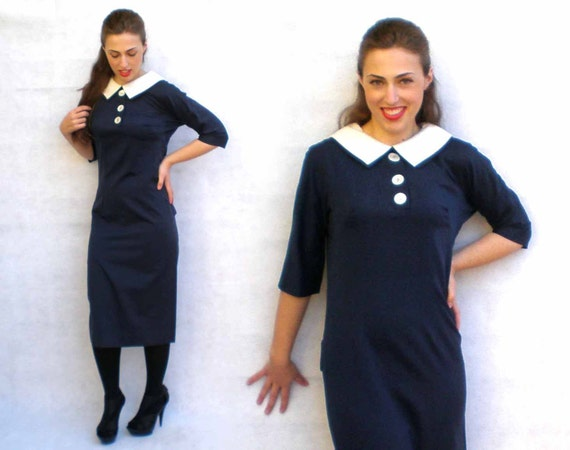 Vintage 60s Cocktail Dress - Marcy Allen Navy Blue & White Drop-Waist Mad Men Shift S/M