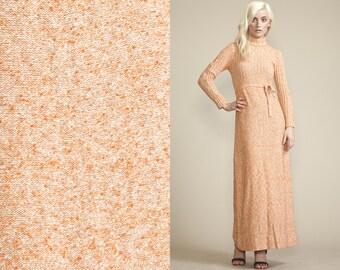 Vintage 60s 70s MAXI SWEATER Orange Dress // Turtle Neck // Peach // Tie Waist belt loop