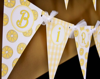 Little Miss Sunshine-You are my sunshine-Sunshine banner- Happy Birthday pennant banner-white and yellow