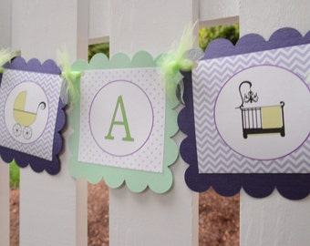 Its a Girl crib and stroller banner, baby shower banner, baby girl banner, Its a Girl banner, crib banner, stroller banner, purple and green