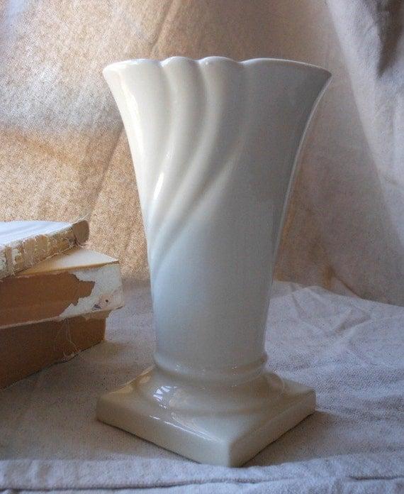 Vintage White Deco Trumpet Vase