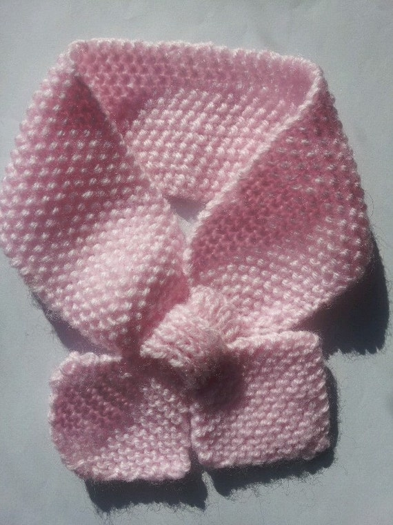 Knitted scarf, Pink Baby Scarf, Pink Scarf, Bow Tie Scarf