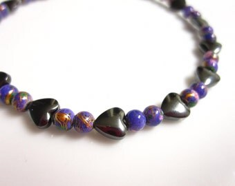 Magnetic Hematite Anklet, Magnetic Anklet, Purple Heart Anklet