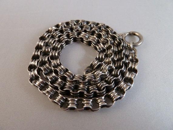 Fine Victorian Silver Book Chain / Locket Chain Belcher Links