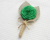 Kelly Green Flower burlap Boutonniere Wedding Boutonniere
