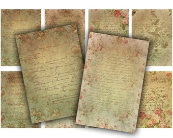 Handwritten Letters Digital Collage Sheet Download - 574 - Digital Paper - Instant Download Printables