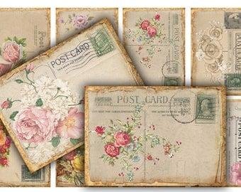 Digital Images - Digital Collage Sheet Download - Vintage Roses Postcards -  401  - Digital Paper - Instant Download Printables