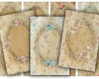 Digital Images - Digital Collage Sheet Download - Antique Floral Frame Tags -  590  - Digital Paper - Instant Download Printables